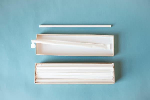white paper straws individually wrapped