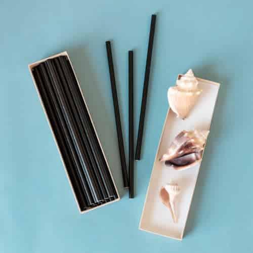 "7.75"" black paper straws"