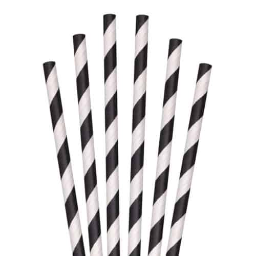 black and white striped paper straw 7.75""