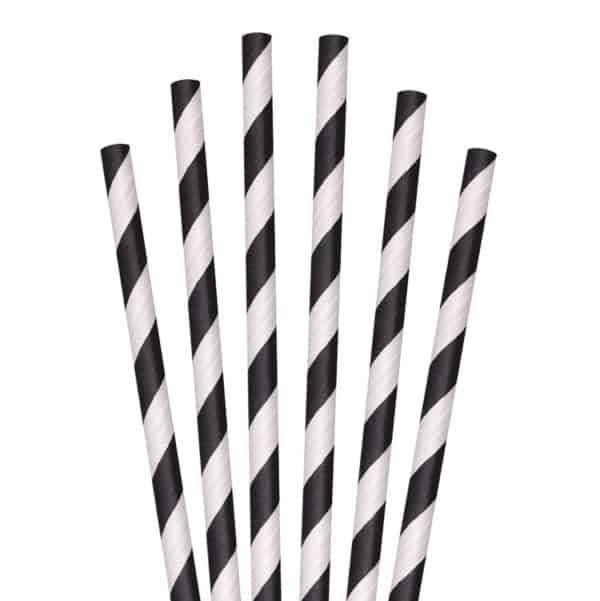"""black and white striped paper straw 7.75"""""""