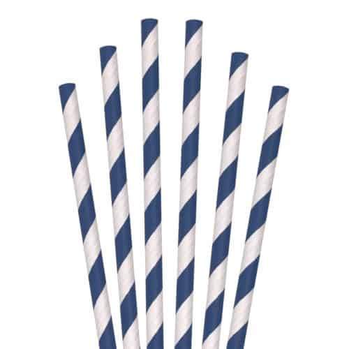 blue and white striped paper straws