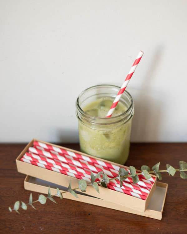 Red and White Stripe with Matcha Tea