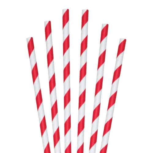 "red striped paper straw 5.75"""