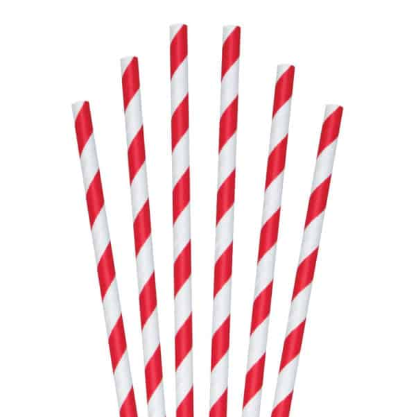white and red striped paper straws