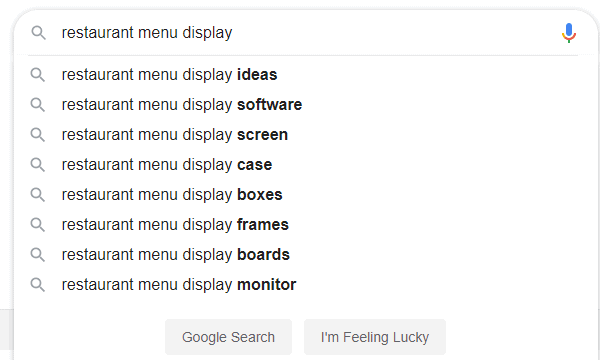 restaurant menu google search options