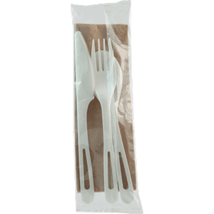 compostable utensils set, wrapped