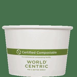 white 16oz compostable paper bowl