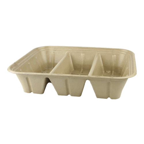 half size fiber catering pan with PLA lining 3 compartment 104 oz