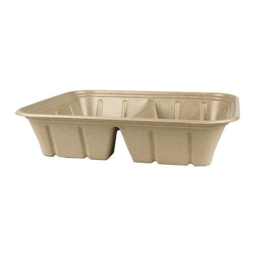 half size fiber catering pan with PLA lining 2 compartment 112 oz