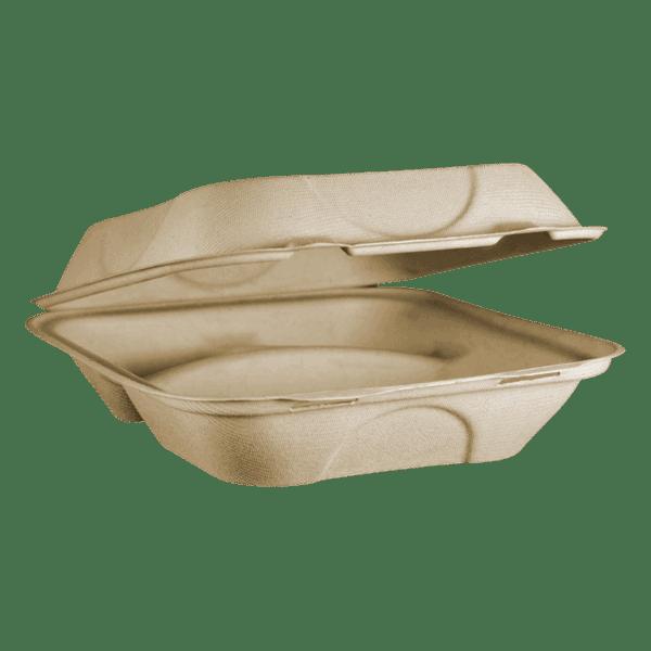 8x8x3 fiber clamshell food packaging