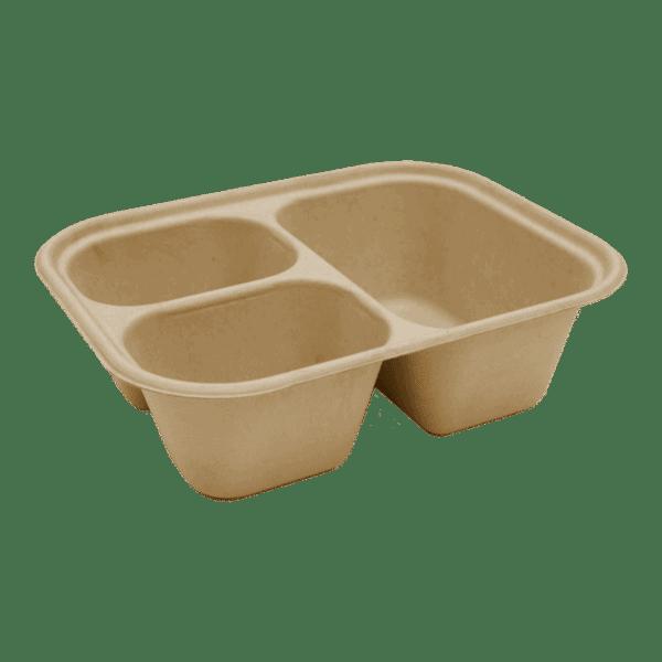 3 compartment compostable fiber tray 48oz
