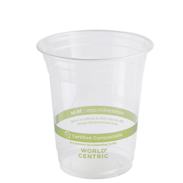 14 oz clear cold cup compostable