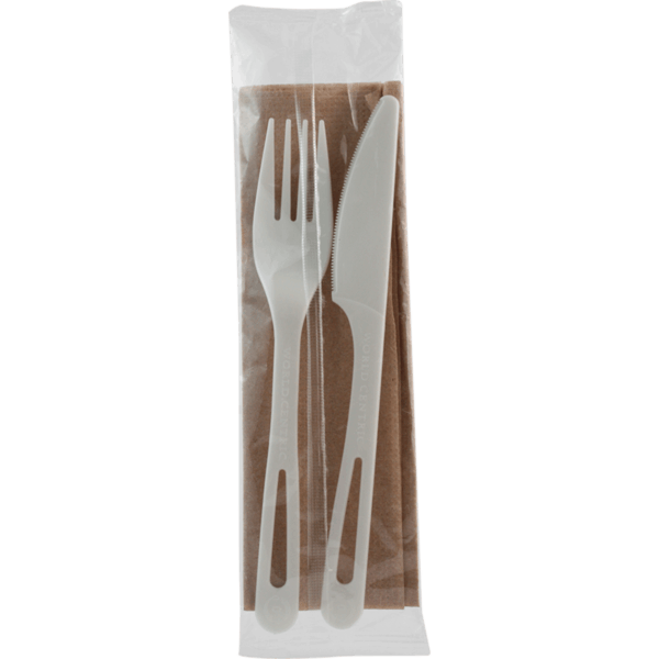 wrapped compostable cutlery set